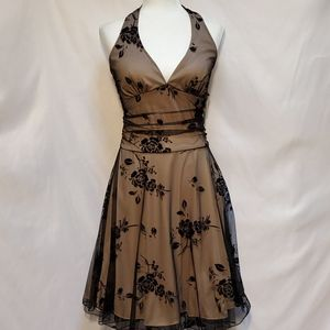Ruby Rox Sheer Floral Black Mesh Nude Halter Dress